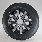 17.5X6.75 HWT SERIES 07 BLACK ALUMINUM TRAILER WHEEL, 8X6.50 w/ Hercules ST21575R17.5 Radial Trailer Tire