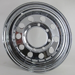 15 x 6 Chrome Modular Steel Trailer Wheel with Rivets, 8x6.5 Bolt, 2830 lb Capacity