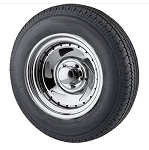 ST205/75R15 Freestar Radial Trailer Tire LR C w/ 15x6, 5x4.5 Chrome Blade Trailer Rim