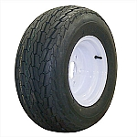 10 x 6 Solid White Steel Trailer Wheel 5x4.5 on 20.5x8-10 Tire LR C