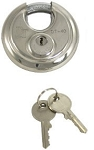 Keyed Alike Disc Padlock w/ Tube Key, Stainless Steel, 2-3/4 in Round - 3/8 in dia Shackle #DT40124KA