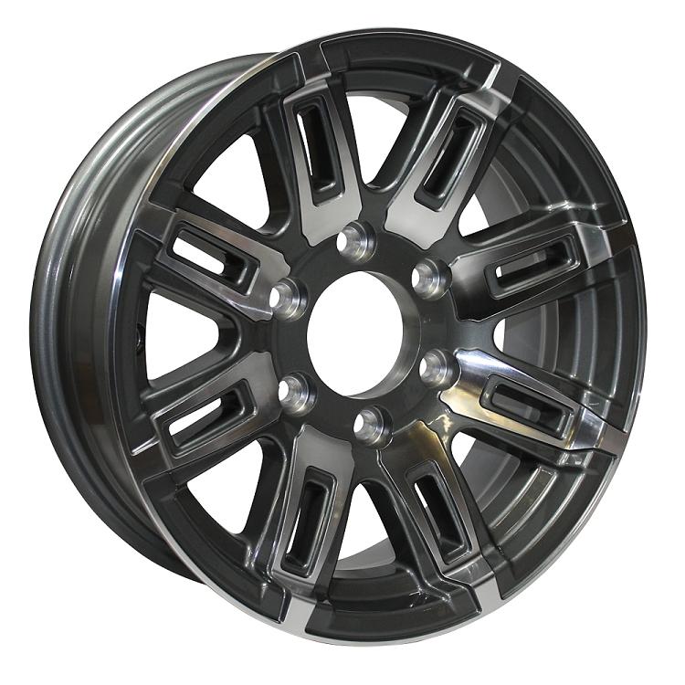 Wheels gt 14 x 5 5 linkster black machined aluminum trailer wheel