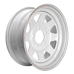 13 x 4.5 Steel Spoke Trailer Rim White Painted w/ Pinstripe 5 on 4.50 Lug, 1,660 lb Load Capacity