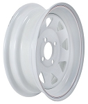 13 x 4.5 White Spoke with Pinstripes Trailer Wheel 4 Lug, 1,660 lb Load Capacity