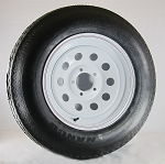 15 x 6 White Moduler Trailer Wheel, 5x4.50 Lug with ST205/75D15 Nanco Trailer Tire LRC