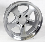 14 x 5.5 Intrepid Machined Silver Aluminum Trailer Rim 5 on 4.50