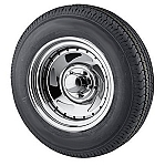 ST205/75R14 Radial Trailer Tire mounted on Chrome Blade Trailer Wheel 5 lug 610441