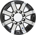 16x6 Hi Spec HWT Series 07 Black Inlay Aluminum Trailer Wheel 8 on 6.5 Lug, 3,960 lb Max Load