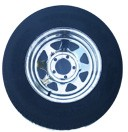 14 x 6 Chrome Spoke Trailer Wheel, 5x4.50 Lug with ST205/75D14 LR C Nanco Trailer Tire Mounted