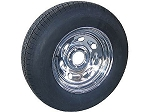 14 x 6 Chrome Tailgunner Trailer Wheel, 5x4.50 Lug with ST205/75D14 Import Trailer Tire LRC