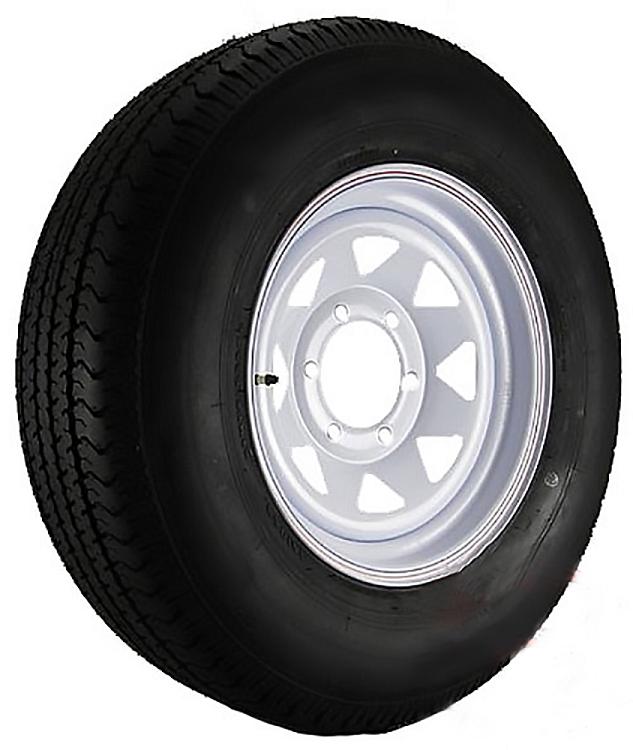 St225 75r15 Trailer Tire Load Range E On 15 White Spoke 6 Bolt