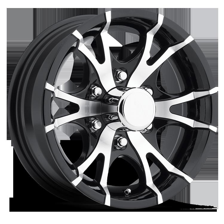 15 Inch Viper Black Machined Aluminum 6 Bolt Trailer Rim 2830 Lb