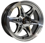 16x6 Slick Six Aluminum Trailer Wheel with Center Cap, 6x5.5 Lug, 3200 lb Max