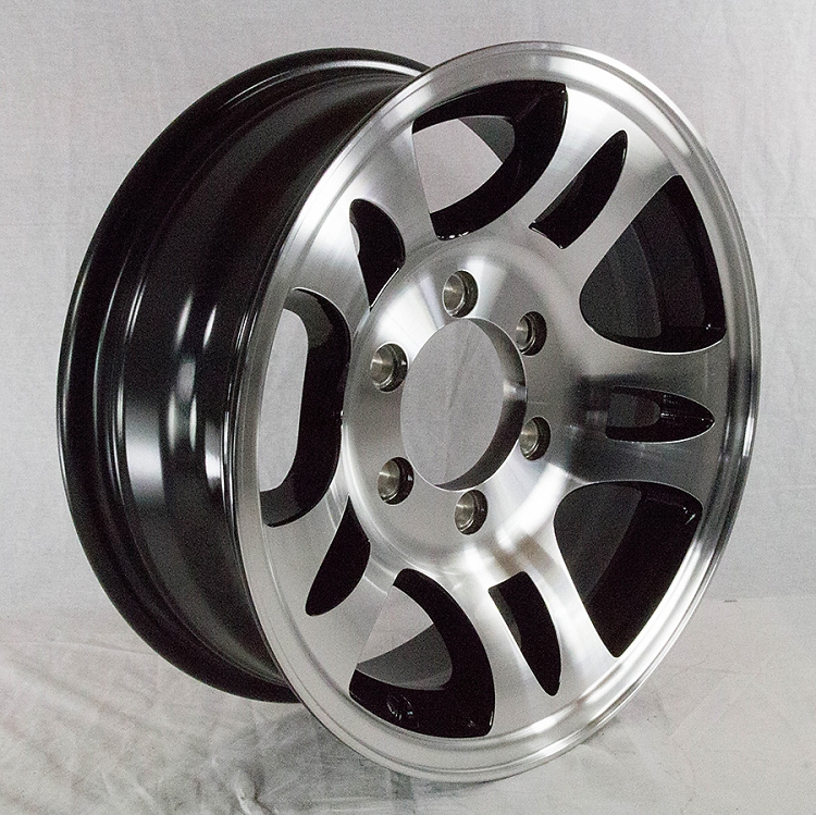 16x6 Aluminum Bullet T03 Trailer Rim With Black Inlay 6x5