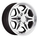 15 x 6 T04 Black Machined Aluminum Trailer Wheel 5 on 4.50