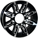 16x6 Linkster Black Aluminum T06 Sendel Trailer Wheel, 8 Lug, 3750 Max Load