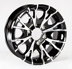 15 inch Viper Black Machined Aluminum 6 Bolt Trailer Rim, 2830 lb Capacity