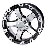 13x5 Aluminum Black and Machined T08 Sendel Trailer Wheel, 5on4.50 Lug, 1660 lb Max Load