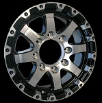 16 x 6 Grinder Black Machined Trailer Rim 8x6.50 3,750 lb Load Rating