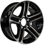 15 x 6 T09 Trailer Rim Black Machined, 6x5.50 Lug Pattern 2,830 lb Capacity