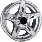 15x6 Silver T10 Sendel Aluminum Trailer Wheel 5 on 4.50 Lug 2,150 lb Max Load