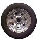 15 x 6 Chrome Tailgunner (Comet) Trailer Wheel, 5x4.5 Lug with ST205/75D15 Nanco Trailer Tire LRC