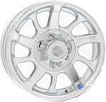 14x5.5 HiSpec Series 08 Silver Aluminum Trailer Wheel with Center Cap 5x4.50, 1900 lb Capacity