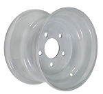 10 x 6 in Standard White Painted Trailer Rim 5 on 4.5 Lug, 1,200 lb Load Capacity