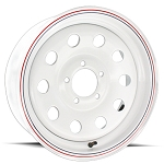 15 inch White Painted Steel ModularTrailer Wheel 5 on 4 1/2 - 2,600 Capacity