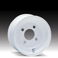 8 x 3.75 White Steel Trailer Wheel 4 on 4 Lug, 1,075 lb Load Capacity