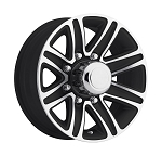 16 x 6 T09 Trailer Rim Black Machined, 8x6.50 Lug Pattern 3,750 lb Capacity