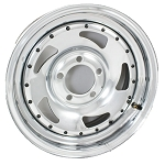 15 x 6 Chrome Blade Trailer Wheel 5 on 4.50 with Rivets, 2600 lb Capacity