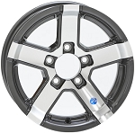 15x5 Series 7 Gray Machined Aluminum Trailer Wheel 5x4.5 (5 Spoke)