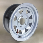 14 x 5.5 White Painted Steel Spoke Wheel 5 on 4.50, 1870 lb Capacity
