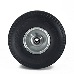4.10/3.50-4 Marathon Flat-Free Gray Rim & Tire 3 Centered 3/4 PBB