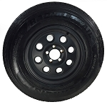 ST225/75R15 Carlisle Radial Trail HD Tire LR C with 15x6 Yuma Matte Black Aluminum Trailer Wheel 5 on 4.5 Lug 2150 Lb Cap