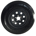 ST225/75R15 Carlisle Radial Trailer Tire LRE with 15x6 Yuma Matte Black Aluminum Trailer Wheel