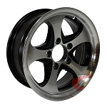 14 x 5.5 Intrepid Machined Aluminum and Black Trailer Rim 5 on 4.50