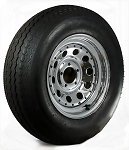 15 x 6 Chrome ModularTrailer Wheel w/ Rivets, 5x4.50 Lug with ST205/75D15 LRC Nanco Trailer Tire