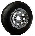 15 x 6 Chrome Spoke Trailer Wheel, 5x4.50 Lug with ST205/75R15 Import Radial Trailer Tire LRC