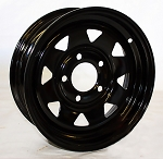 13 x 4.5 Steel Spoke Trailer Rim Black Painted 5 on 4.50 Lug, 1,660 lb Load Capacity