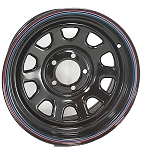 15x7 Black Steel Daytona OEM Wheel 5 on 4.50 Bolt Pattern, 1,600 lb Max Load