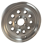 17 x 8 Silver Machined Aluminum Modular Sendel Trailer Wheel, 5 one 4.50, 2200 lb Max Load