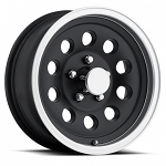 15 x 6 Matte Black Aluminum Trailer Wheel with Machined Lip, 5x5 Lug Pattern