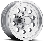 17 x 8 Silver Machined Aluminum Modular Sendel Trailer Wheel, 6 on 5.50, 2850 lb Max Load