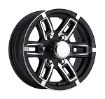 16 x 6 Linkster Black Aluminum 6 x 5.50 Trailer Wheel 3,400 lb Capacity T06-66655BM (8 SPOKE DESIGN)