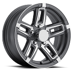 14 x 5.5 Linkster Gray Machined Aluminum Trailer Wheel 5x4.50 Bolt Pattern