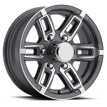 16 x 6 Linkster Gray Aluminum 6 x 5.50 T06 Trailer Wheel 3,200 lb Capacity