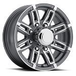 16 x 6 Linkster Gray Aluminum 8 x 6.50 Trailer Wheel 3750 Capacity