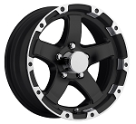 13x5 Aluminum T08 Machined with Black Inlay Sendel Trailer Wheel, 5 on 4.50 1,660 lb Max Load